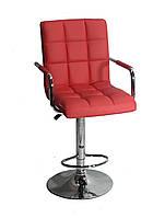 Барный стул Августо красная экокожа + хром, с подлокотниками
