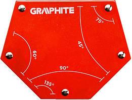 Cварочный угольник магнитный Verto GRAPHITE 56H905, 111x136x24мм, угол 45, 60, 75, 90, 135град.,сила