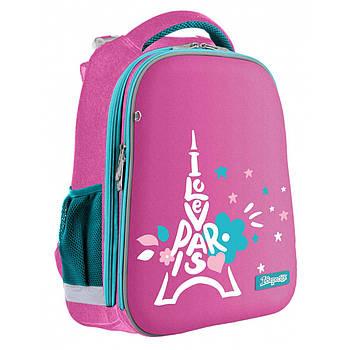 Школьный каркасный рюкзак для девочки 1Вересня Н-12 Love Рaris 38х30х15см  Розовый (558025)(5056137157693)