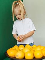 Белая однтонная детская футболка унисекс для деток размеры 110-140
