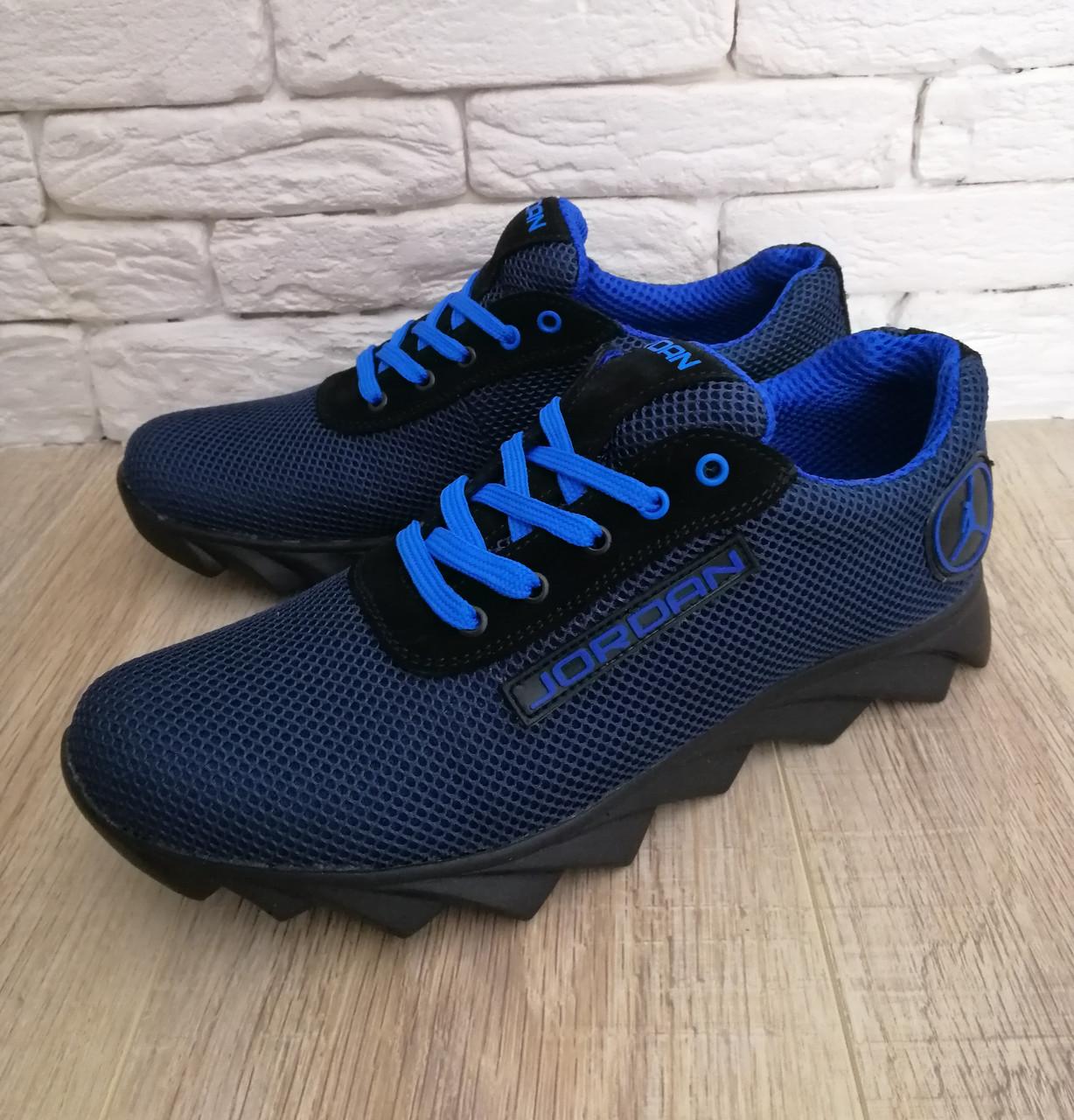 Кросівки чоловічі літні сітка високі 40-45 синій