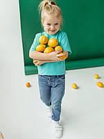 Бирюзовая детская футболка для девочки и мальчика из натуральной ткани хлопок размеры 110-140