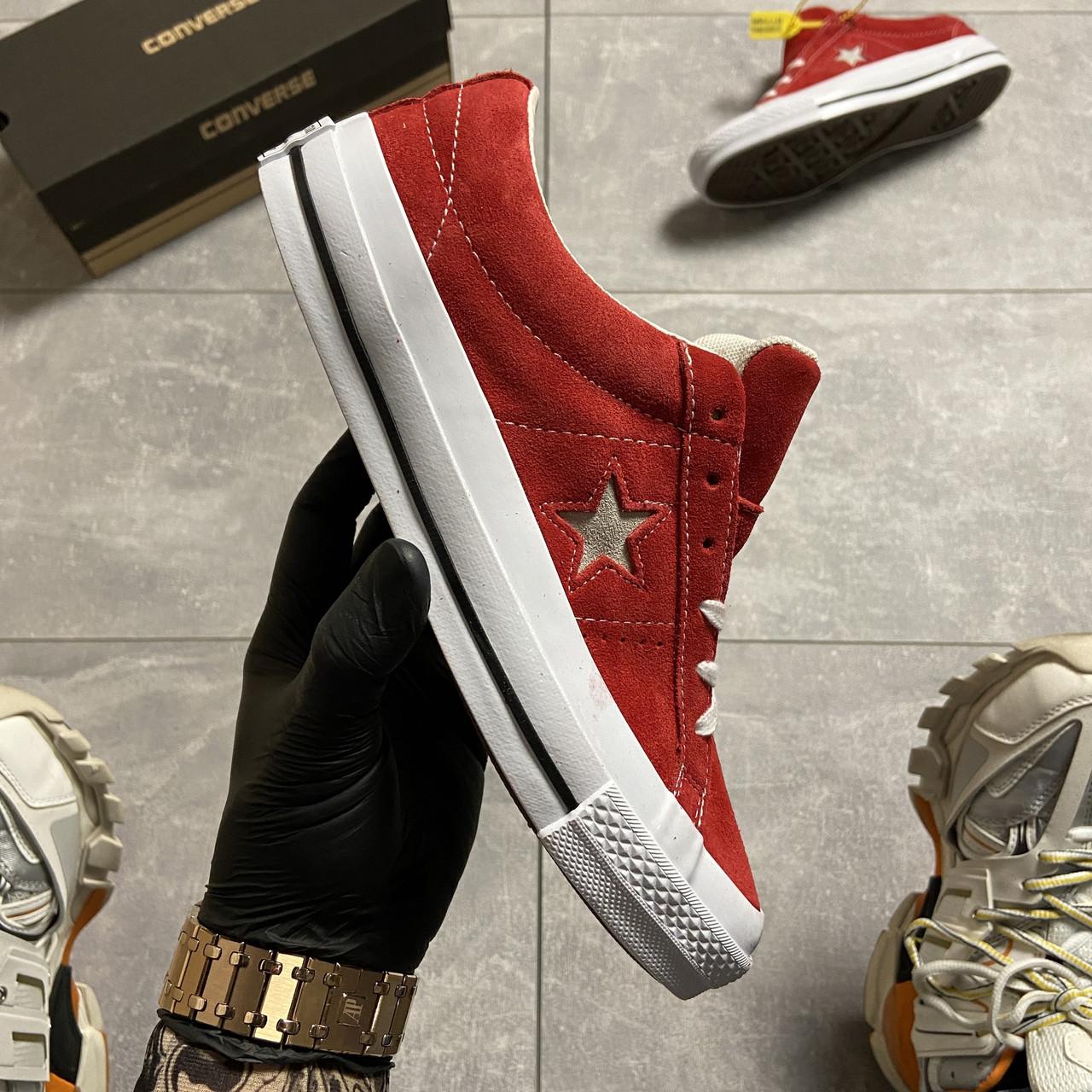 Кеды женские Converse One Star Premium Suede Red. Стильные женские кеды красного цвета.