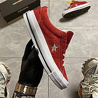Кеды женские Converse One Star Premium Suede Red. Стильные женские кеды красного цвета., фото 1