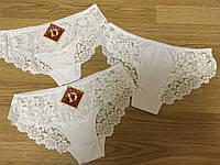 Трусики женские, Молодежные Гипюровые трусики S-M (407 Белые)