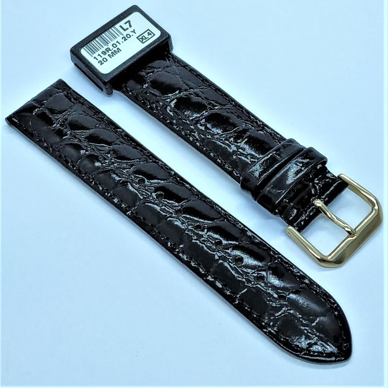20 мм Кожаный Ремешок для часов CONDOR 119.20.01 Черный Ремешок на часы из Натуральной кожи