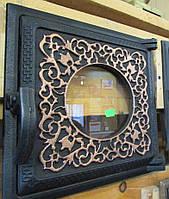 Чугунная дверка для печки со стеклом подходит для печек в доме и в барбекю комплексах