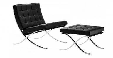 Кресло Барселона с пуфом под ноги, экокожа, цвет черный