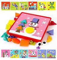 """Детская мозаика для малышей """"Развивашка"""" (набор из 12 картинок) крупные детали и шаблоны"""