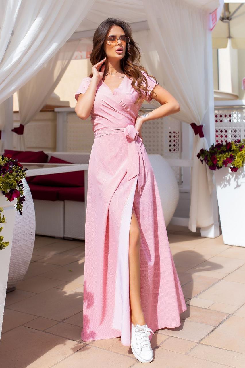 Платье на запах, длинное, в пол, нарядное, стильное Пудровый