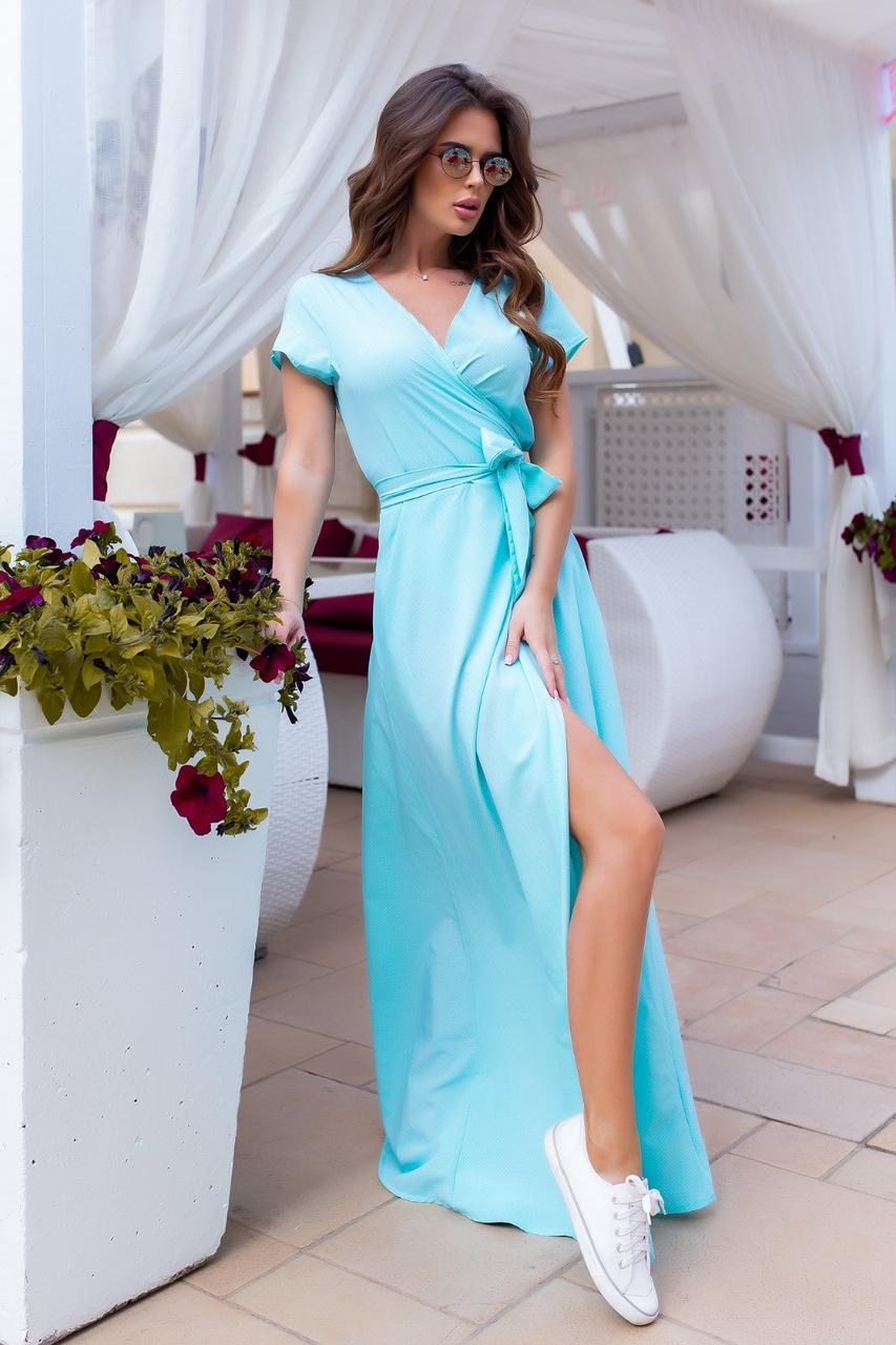 Плаття на запах, довге, в підлогу, ошатне, стильне М'ята