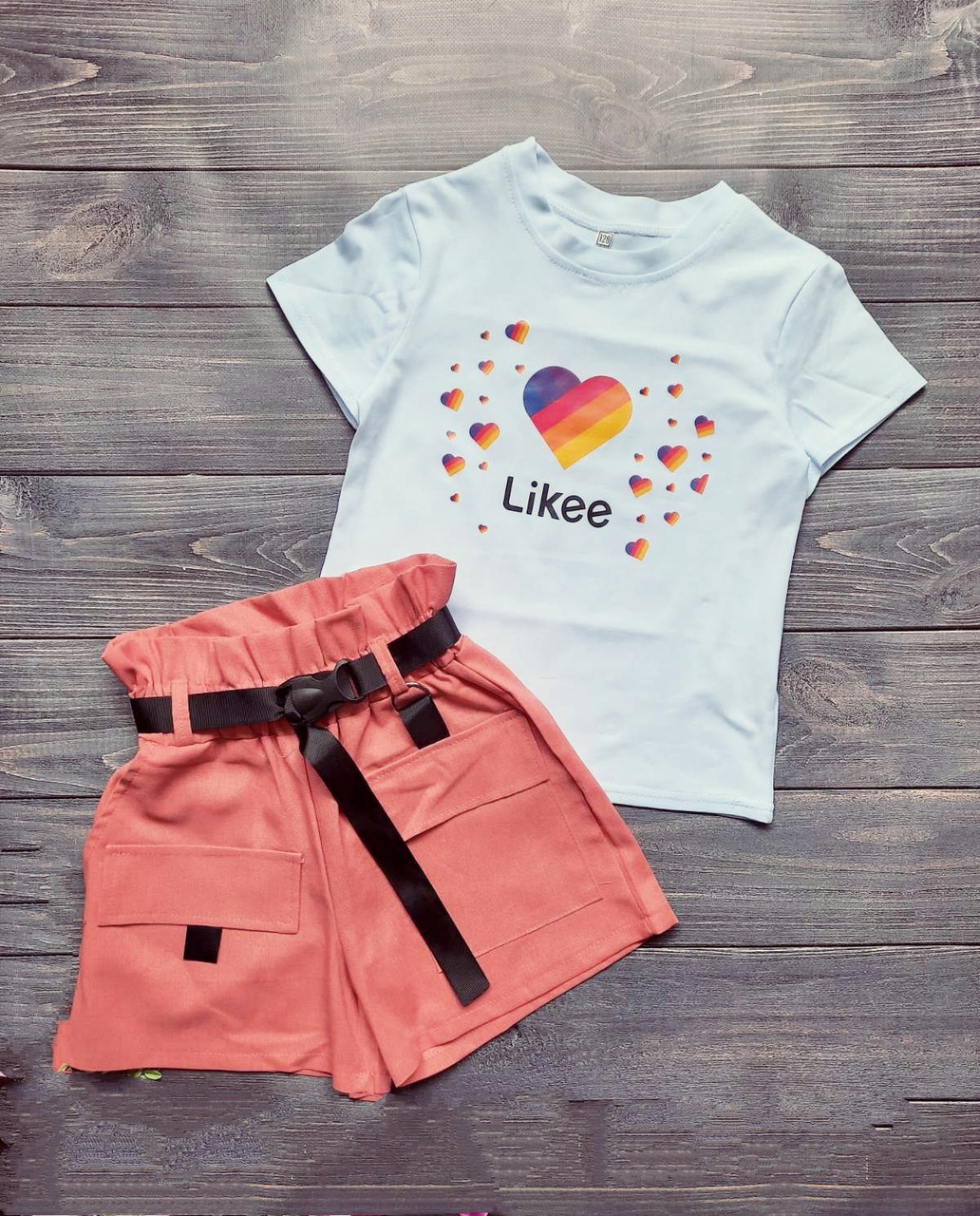 Костюм для девочки футболка и шортики Размеры 140 146 152