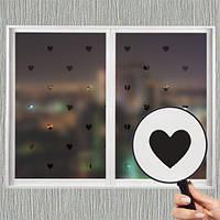 Самоклеющаяся матирующая наклейка на окно В сердечки (матовая пленка виниловая на стекло зеркало от солнца)