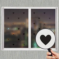 Самоклеющаяся матирующая наклейка на окно В сердечки (матовая пленка, виниловая на стекло зеркало, от солнца)