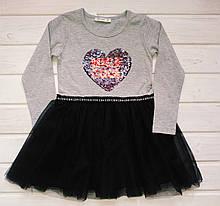 ✅Платье нарядное для девочки Платье с фатином серое Размеры  134 140 152 152