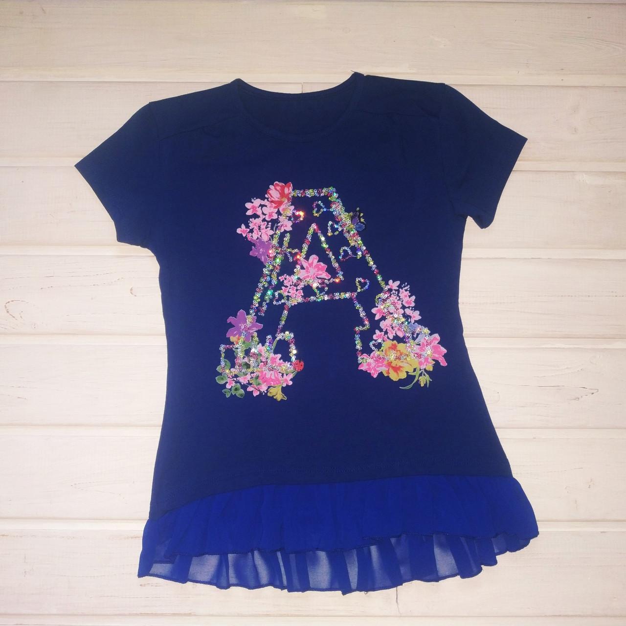 Футболка для девочки нарядная синяя Размер 146