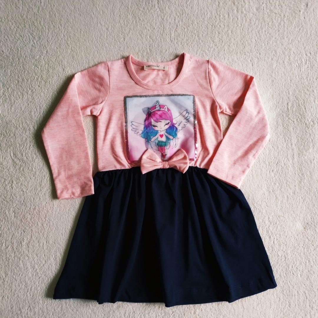 ✅Платье нарядное для девочки розовое с синим   Размеры 92 110