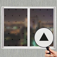 Самоклеющаяся матирующая наклейка на окно В треугольники (матовая пленка на стекло зеркало, от солнца)
