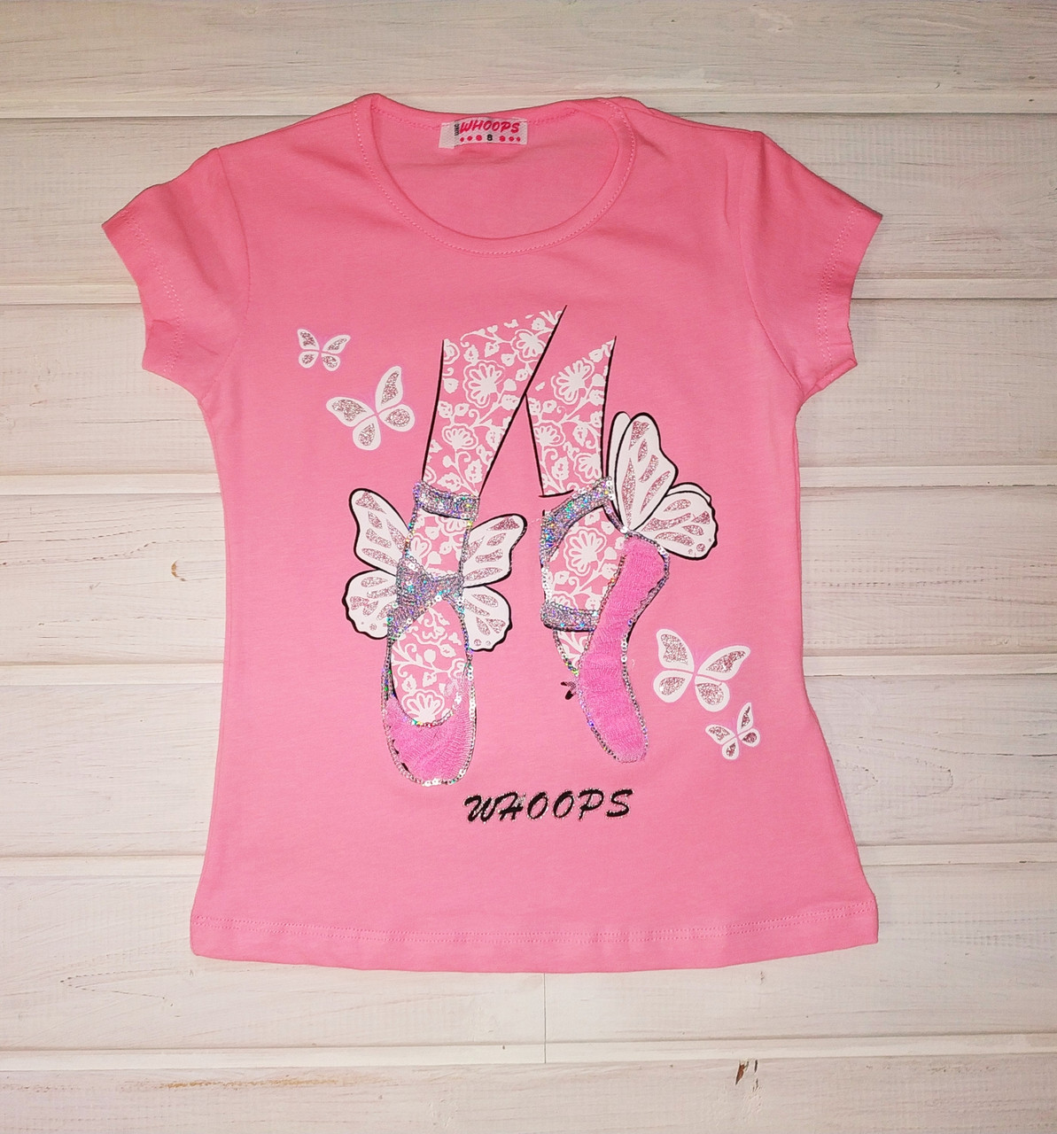 Футболка для девочки розовая Размеры 110 122 128