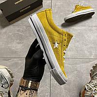 Кеды женские Converse One Star Premium Suede Yellow. Стильные женские кеды желтого цвета., фото 1