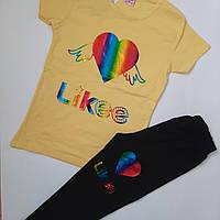 Летний прогулочный костюм Likee футболка и бриджи!для девочек 7-12 лет рост 128-152 см