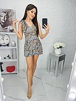 Комбінезон жіночий, шортами, з кишеньками, короткий Сірий, фото 1