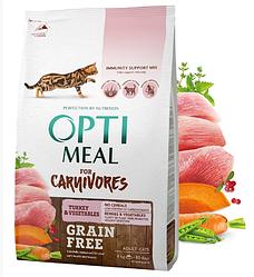 Корм Optimeal Carnivores Turkey & Vegeta Оптиміл беззерновій з індичкою для кішок 4 кг