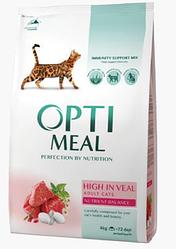 Корм Optimeal High in Veal Adult Оптіміл з високим вмістом телятини для дорослих кішок 4 кг