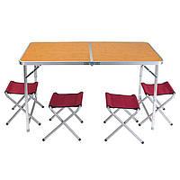 "Стол туристический для кемпинга, алюминий, пластик ""бамбук"", 4 стула, 120*60*70/55cm"