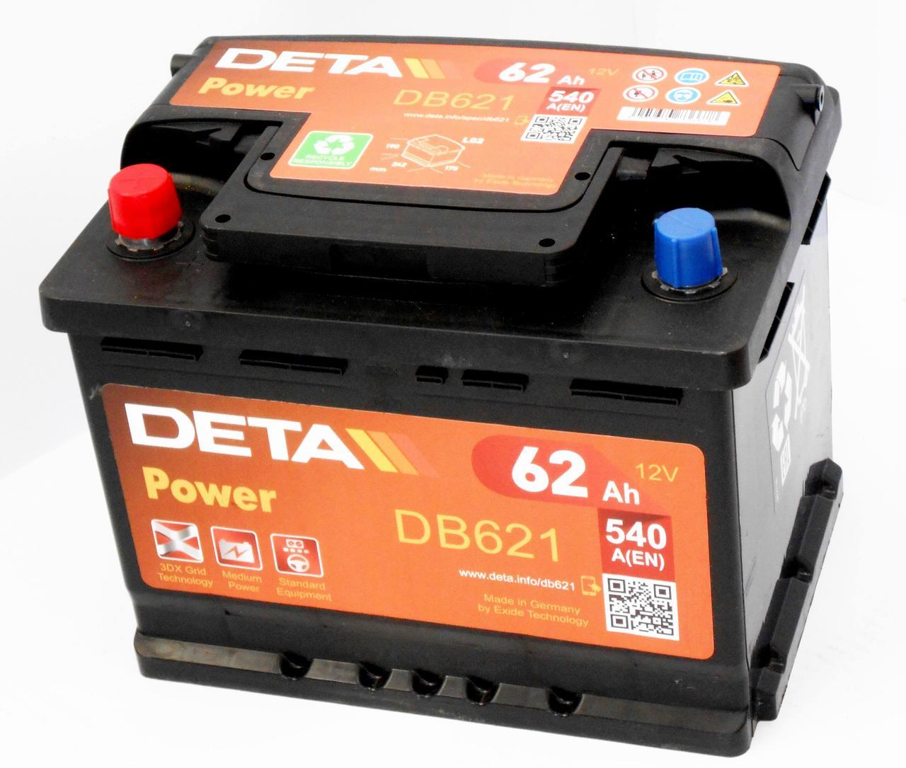 Аккумулятор автомобильный DETA POWER 6-СТ 62Ач (L+) 540A Германия