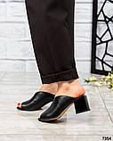 Стильные мюли женские кожаные черные, фото 2
