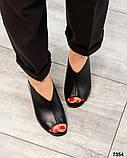 Стильные мюли женские кожаные черные, фото 3