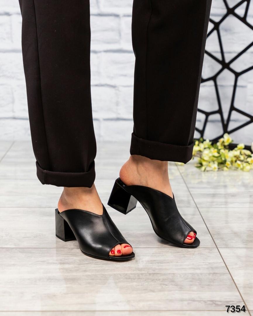 Стильные мюли женские кожаные черные