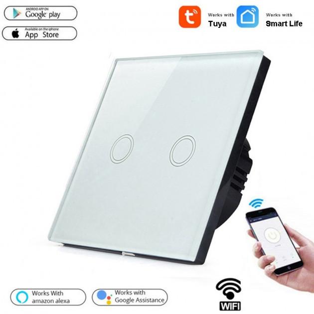 Умный Сенсорный Двухканальный Выключатель  Wi-Fi с управлением голосом (Alexa/Google Home) Android / IOS