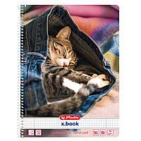 Блокнот Herlitz А4 80арк кліт Jeans Cat Кошеня