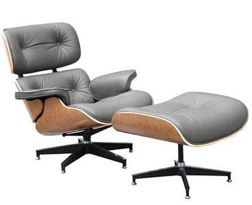 Кресло Релакс с оттоманкой, натуральная кожа, гнутая фанера, цвет серый
