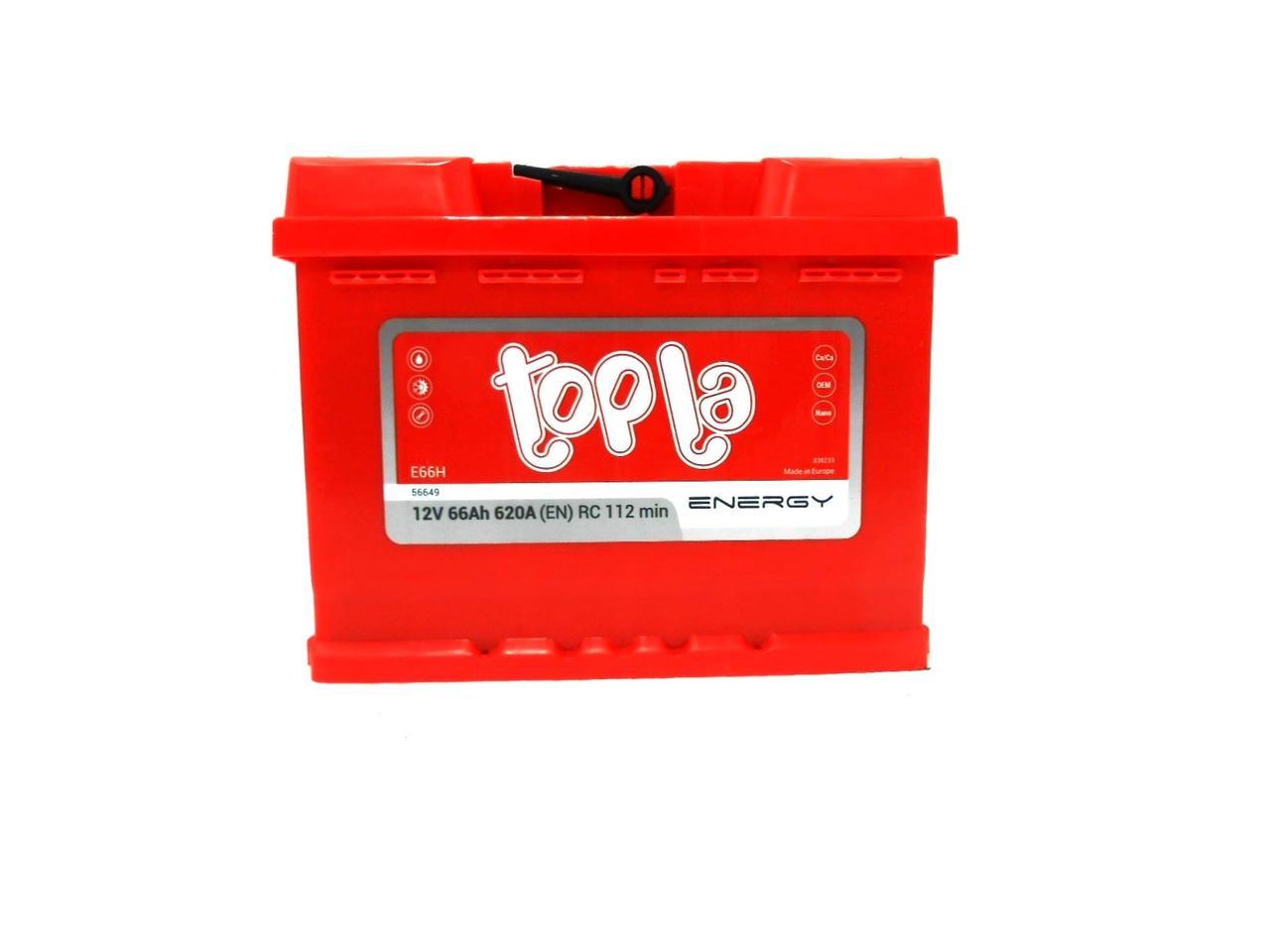 Аккумулятор автомобильный TOPLA ENERGY 6СТ 66 Ач (R+) 620 А Словения 2 года гарантии