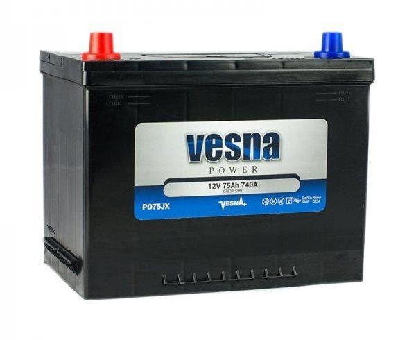 Автомобильный аккумулятор VESNA Asia 6СТ-75Ah АзЕ 740A (L+) Словения