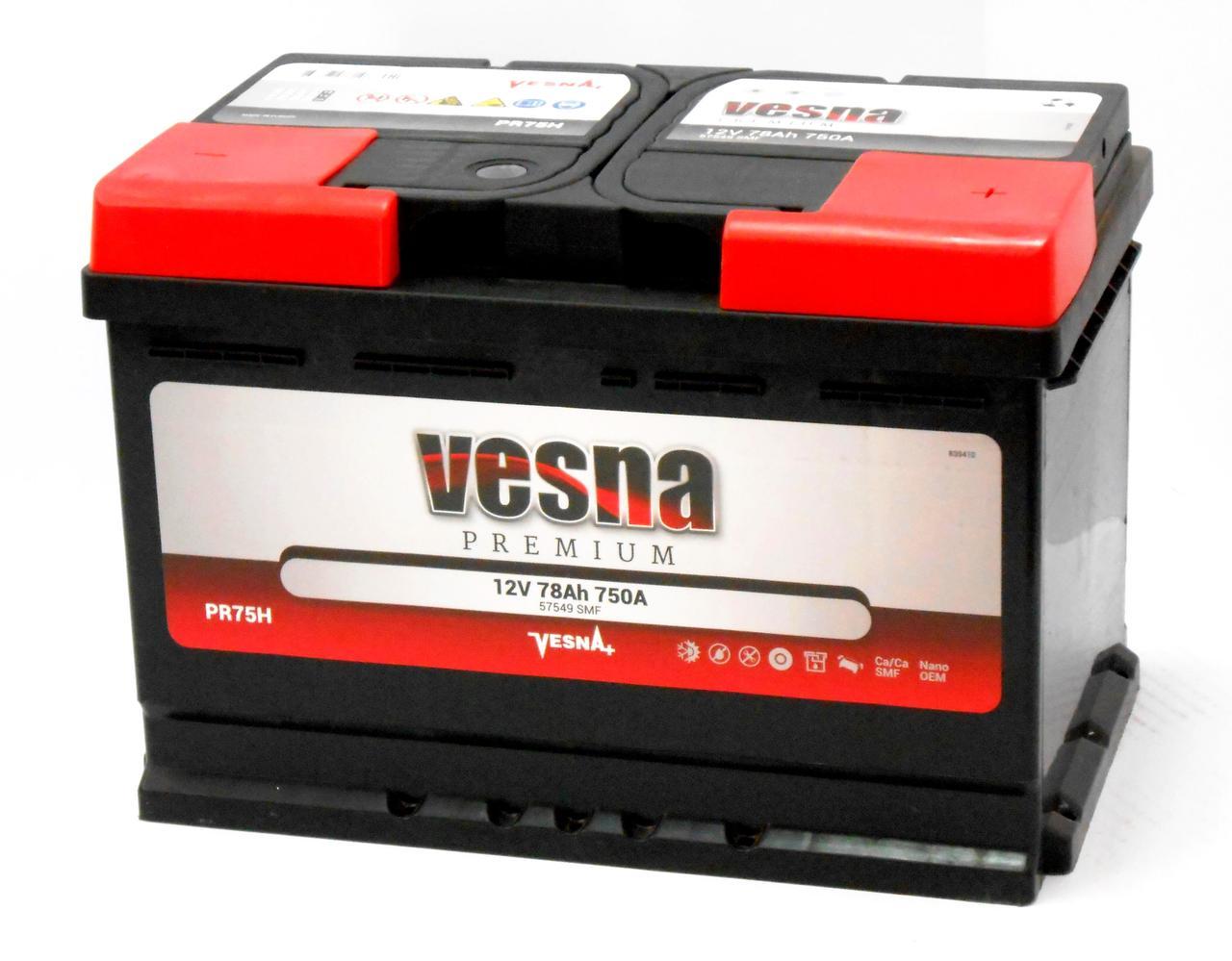 Аккумулятор автомобильный VESNA Premium 6-СТ 78 Ач (R+) 750 A Словен