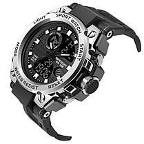 Часы наручные мужские SANDA 739 Silver с двойным дисплеем спортивные кварцевые влагозащищенные, фото 3