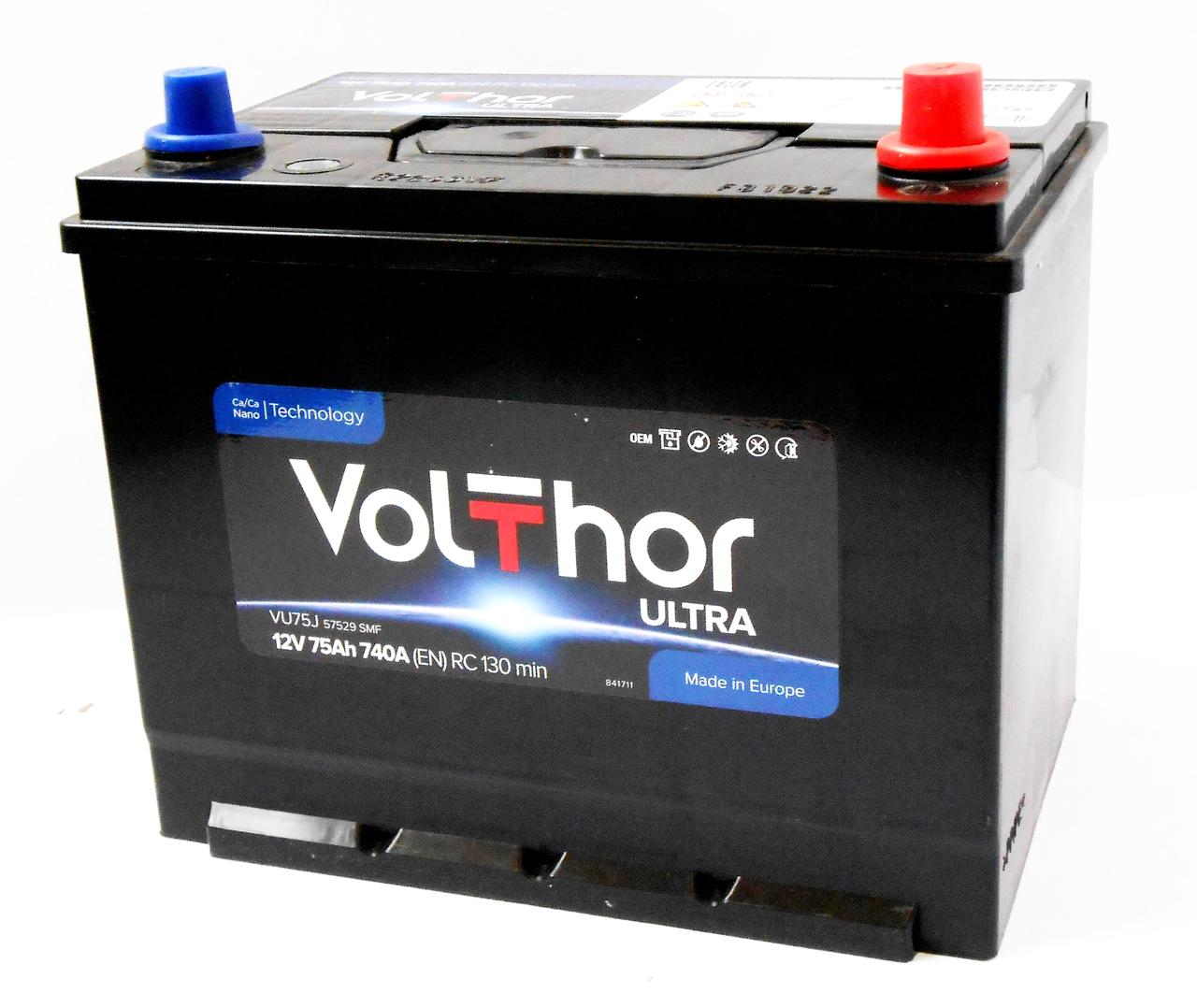 Аккумулятор автомобильный VOLTHOR Asia 6СТ 75 Ач (R+) 740 А  Словения