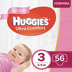 Подгузники Huggies Ultra Comfort Jumbo для девочек Размер 3 (5-9кг) 56 шт