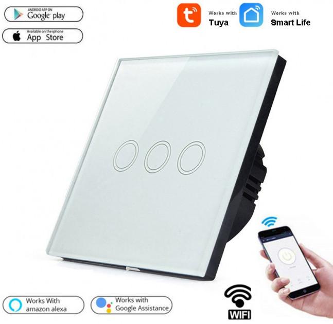 Умный Сенсорный Трехканальный Выключатель Wi-Fi с управлением голосом (Alexa/Google Home) Android / IOS