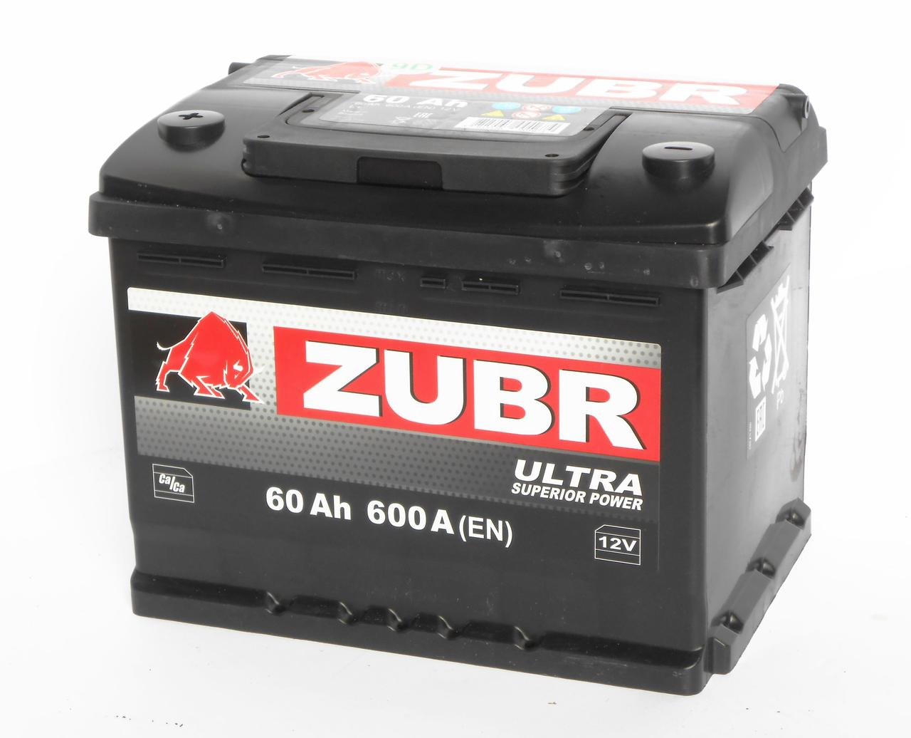 Аккумулятор автомобильный ZUBR Ultra 6-СТ 60 Ач (L+) 600A 2 года горантии Белорусь