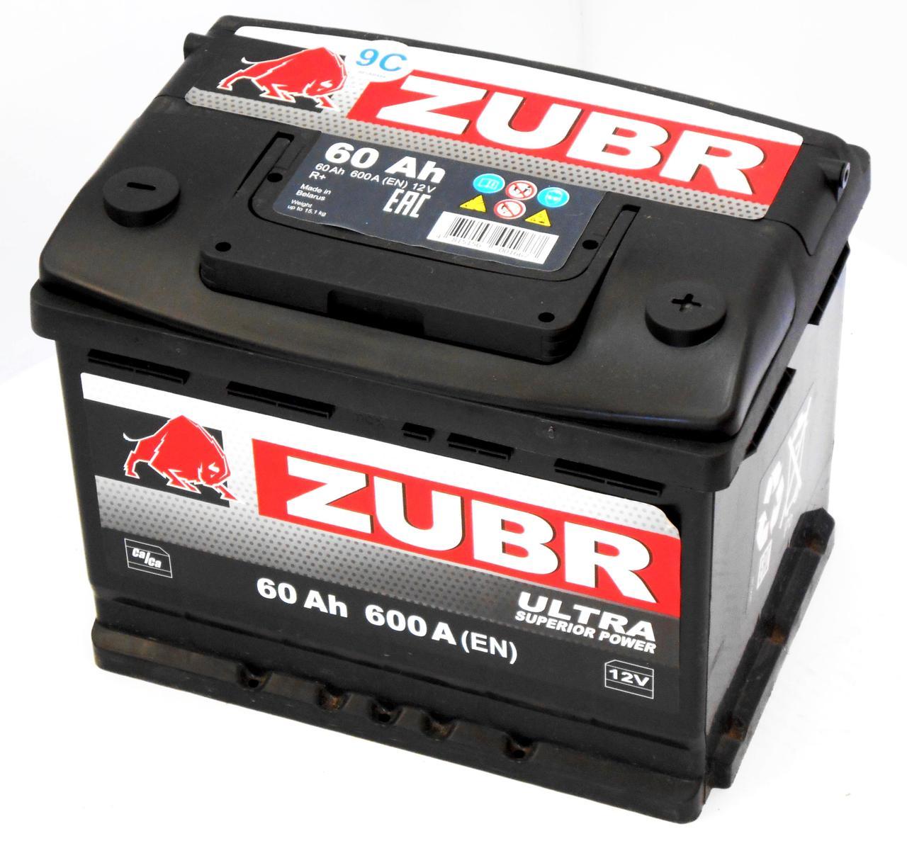 Аккумулятор автомобильный ZUBR Ultra 6-СТ 60 Ач (R+) 600A 2 года горантии Белорусь