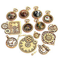 Набор из 15 металлических подвесок шармов шармиков, часы Gold Premium