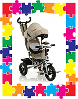 Детский трехколесный велосипед Crosser One с надувными колесами Бежевый