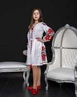Нарядное красивое  стильное детское вышитое платье  с длинным рукавом