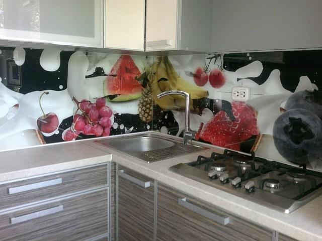 Кухонный фартук из стекла фруктовый микс купить в Павлограде