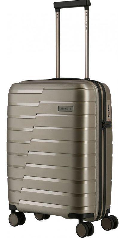 Пластиковый чемодан Travelite, малый, серебристый , 37л